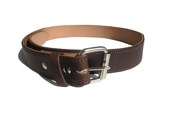 brown leather conceal carry gun belt w by