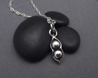 Two Peas in a Pod Necklace Tiny Sterling Silver Pea Pod Charm Pendant with Sterling Silver Chain
