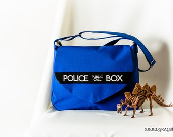 Doctor Who Crossbody Shoulder Bag With Flap - Tardis, Police Box