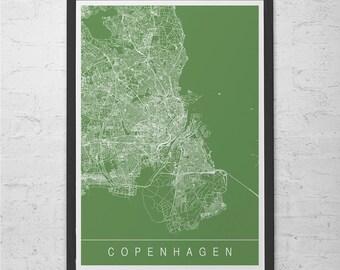 COPENHAGEN CITY MAP Art Print - Line Art City Map - Copenhagen Denmark Scandinavia Map Art Minimalist Art Print Customizable City Map