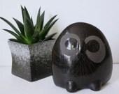 V.Silva Mexican Blackware Tonala Owl Figurine Mid Century Mexican Folk pottery