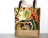 Bright bold large multicolor tapestry burlap tote bag