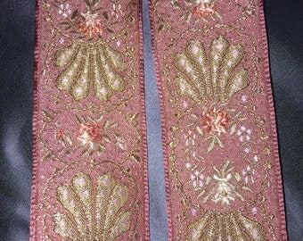 Beautiful pink and gold, floral vintage French brocade ribbon, 1 1/2 inches wide