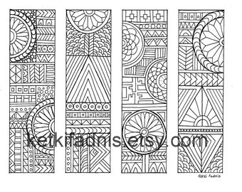 Coloring Bookamrks - PDF Download - Bookmarks to color - Digital download - Geometric - DIY - Coloring page