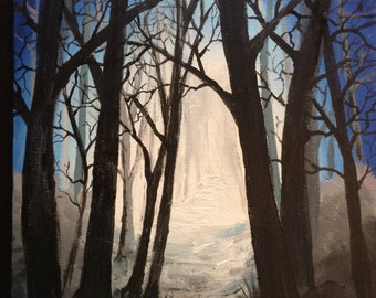 Night Light.....fine art with a twist/forest in acrylic