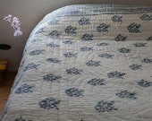 Floral quilt summer bedcover bedspread white blue India block print cotton queen size reversible handmade bohemian home décor Himalaya