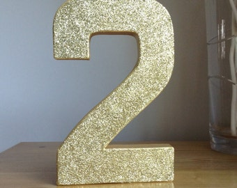 Gold Glitter Number 2, Paper Mâché Numbers, 2nd Birthday Party Decor, Gold Number 2