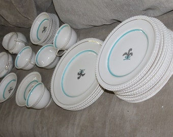 HUGE SALE English Johnson Brothers England BY, Bone China, Prince of Whales Pattern, Blue Verge, Plume and Bow Center, 34 Piece