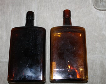 Vintage Amber Glass Bottles For Alcohol, Liquor, Bottle, Decanter, w a Note in One of Them Says Grace Neal Est. May 25, 1965 When it was....