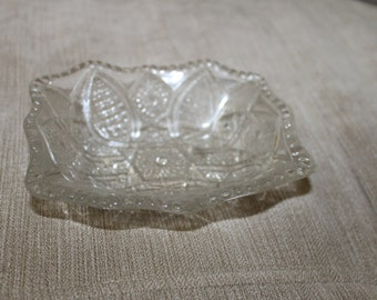 This Clear Glass Rectangle Bowl is Old, Beautiful Design, The Bowl is Smooth Inside & On The Outside You Feel The Design in The Glass, NICE