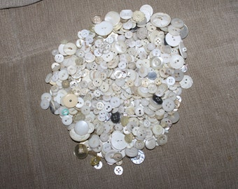 Vintage Buttons, Almost a Pound in This Lot, Mixture of White And Clear Buttons, All Sizes, Mother of Pearl Included, Craft & Sewing Project
