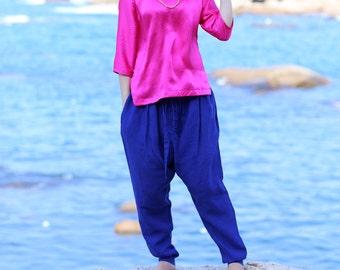 Blue hemp drawstring pants trousers BonLife