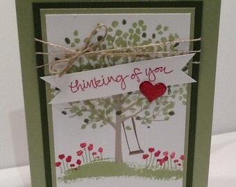 Thinking Of You Card - Handmade Stampin Up Card - Hand Stamped Card with Tree