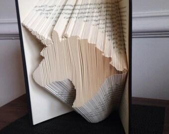 Book folding pattern for a Unicorn name Rainbow +Free tutorial