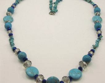 Free shipping,blue turquoise long necklace,crystal,vintage,bangle,personalized,wholesale(XL09)