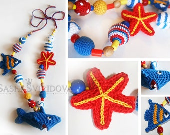 Nautical nursing necklace with toy - Teething necklace - Breastfeeding Necklace - Crochet Necklace - Gift for Babywearing Moms