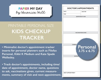 Personal Filofax Kids Checkup Tracker - Printable Doctors Appointment Tracker for Filofax Personal, Kikki K Medium planners