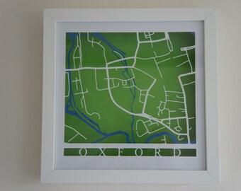 Oxford cut map - White