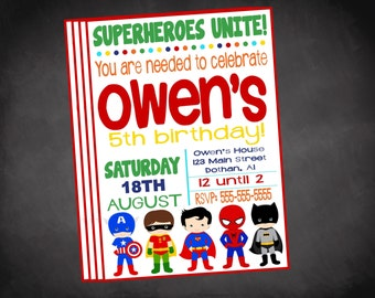 Superhero Invitation, Superhero Birthday Invitation, Super Hero Invitation, Superheroes Invite, Superhero Invite, Superhero Birthday Invite
