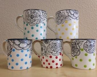 16oz. flower outline mug with polka dots