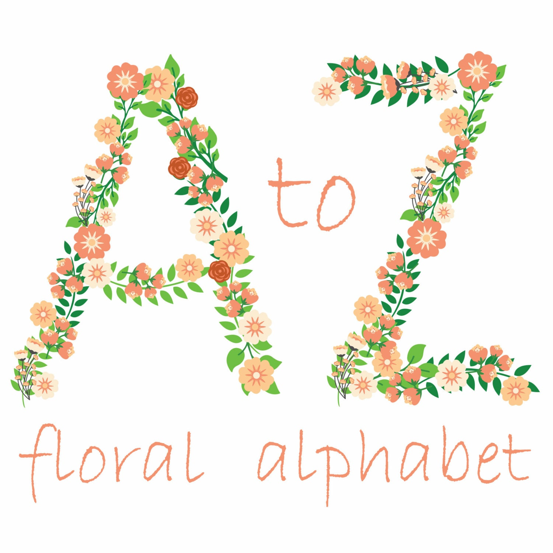 Shop Floral Monograms At Littlebrownnest Etsy Com: Flower Alphabet Clipart Floral Letters Flower Monogram