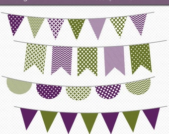 Purple and Green Bunting Clipart Digital Art Set Banner Flag INSTANT DOWNLOAD Banner Clipart Bunting Clipart