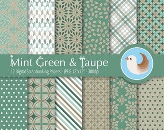 Mint Green and Taupe Digital Paper Set - Green Digital Paper - Retro Digital Paper - Set of 12 Digital Scrapbooking Papers
