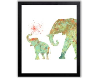Mint Green, Teal and Orange Decor, Baby Elephant, Kids Elephant Decor