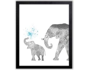 Safari Nursery Decor, Teal And Gray, Baby Elephant Nursery Art