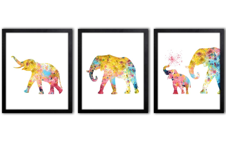 Elephant wall decor elephant nursery art baby girl nursery for Nursery wall art