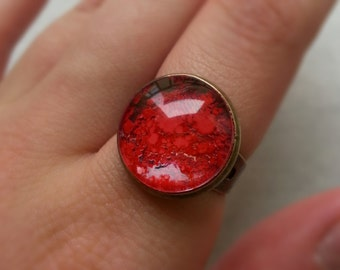 """Ring """"Red pigment"""" cabochon copper"""