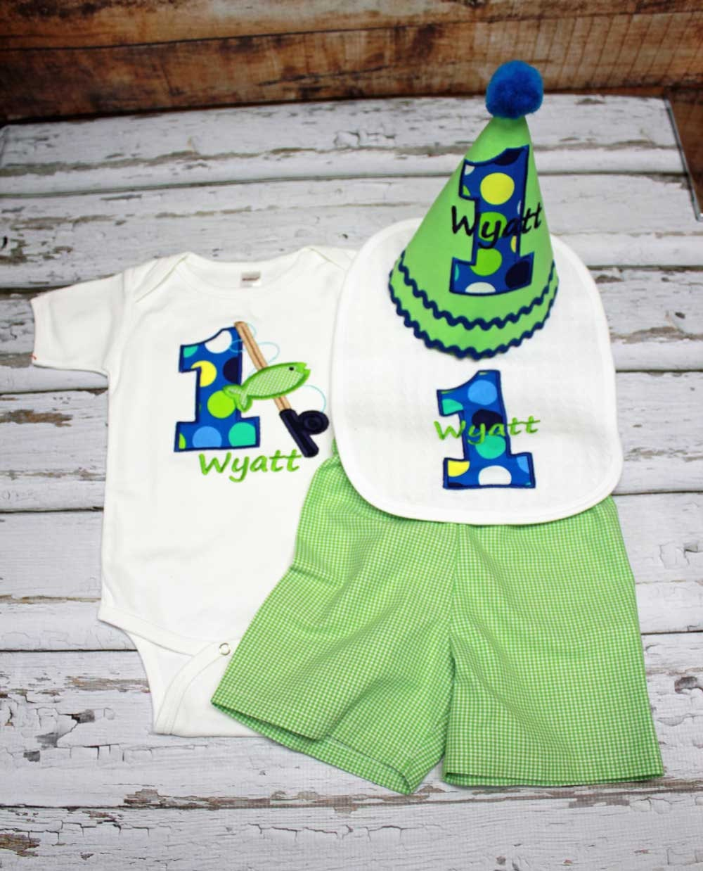 Boys first birthday fishing outfitboys cake by tiptopkidsbaby for Fishing first birthday