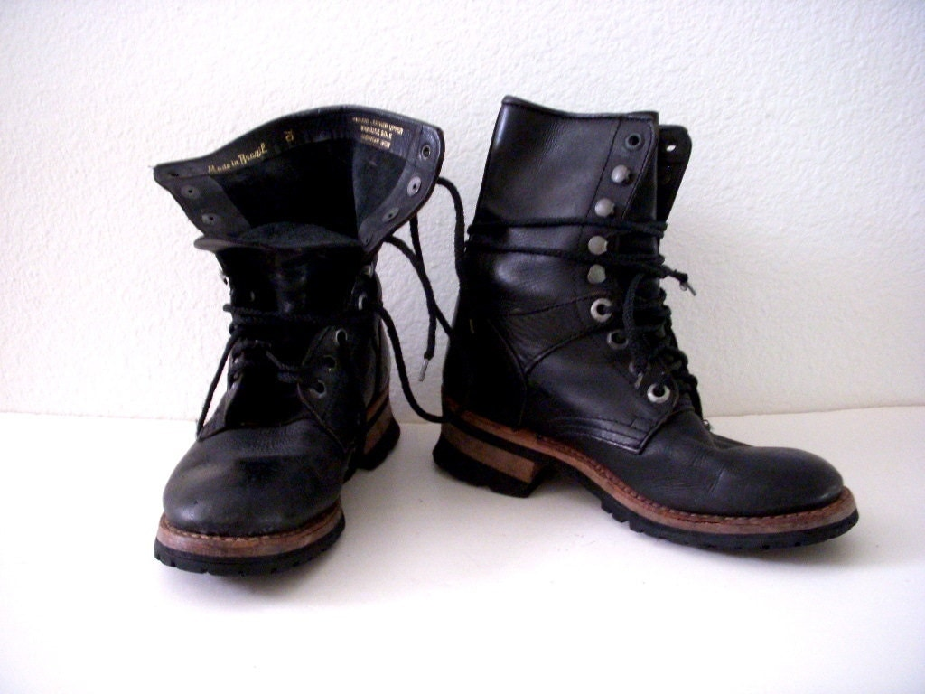 90s NaNa Industrial Strength Boots Vintage Black Leather