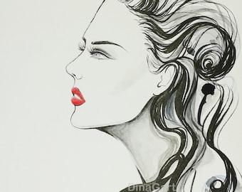"Original fashion Illustration, Profile Portrait Illustration,""Sky"" (8 x 6 inch),Pen and Ink Fashion drawing"