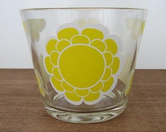 Yellow Daisy Glass Ice Bucket