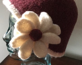 BROWNISH MAROON Felted Hat with Flower. Hand Knitted and felted.