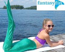 "FREE Bikini Top with FantasyFin #1 Swimmable Mermaid Tail ""with"" Monofin- Sparkly Ariel Green"