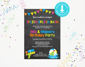 Splish Splash Invitation INSTANT DOWNLOAD  - Printable Summer Fun Invitation by Printable Studio