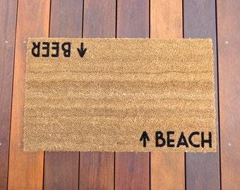 Beach / Beer Door Mat (doormat) - beach cottage decor