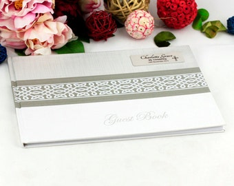Personalised Guest Book with Plaque - Naming Day/Christening