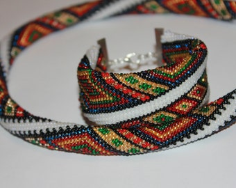 Beaded crochet necklace Bukovyna -ethnic necklace Geometric necklace Colorful Necklace Vyshyvanka necklace