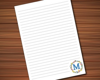 Monogram Customized Printable Stationery Paper - For Writing to Penpals