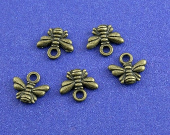 10 pcs-11x9mm Antiqued Brass Bee, Bronze Bee Charms, Insect Small 2 Sided Honey Bee Pendant Charm Jewelry Making Findings Craft Supplies