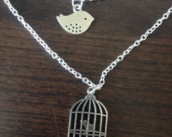 SALE- Double Strand Bird and Cage Necklace