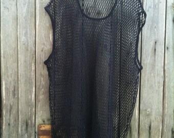 T-shirt Vintage/ 90s / Jersey/ Black/ One size/ Net / elastic
