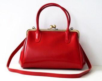 Leather Handbag Sophie in red, Vintage leather handbag, leather purse, genuine leather bag