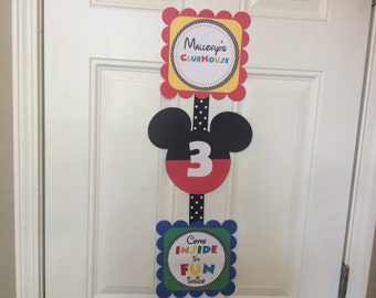 Mickey Mouse Door Sign, Mickey Mouse Clubhouse Door Sign, Mickey Mouse Welcome Sign, Come Inside Its Fun Inside