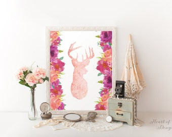 Deer head printable art print Wall decor Pink deer head Floral deer print Deer with flowers Pink deer nursery decor Toddler decor wall art