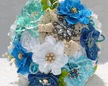 Vintage Bridal Bouquet, Custom Brooch Bouquet, Wedding Flowers, Handmade Flowers, Brooch Bouquet, Peacock Theme Wedding, Fabric Flowers