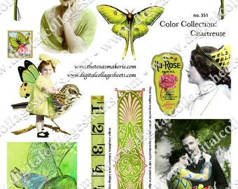 Color Chartreuse Digital Collage Sheet Vintage Tinted Photographs Instant Download Mixed Media Altered Art Images dcs351